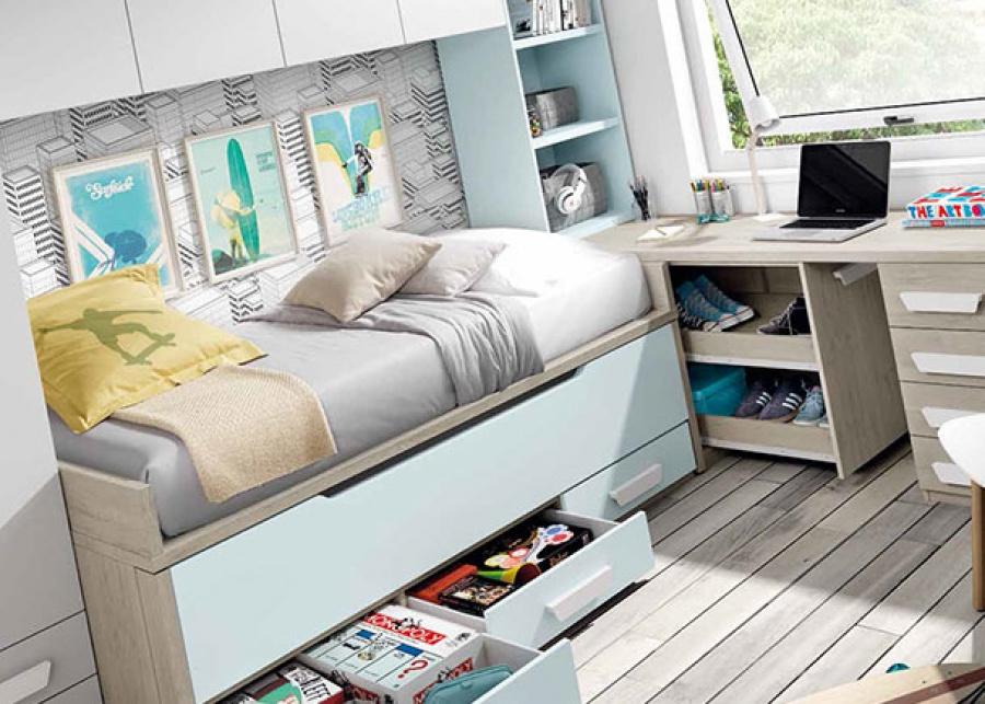 <p>Dormitorio juvenil equipado con compacto bicama (ambas de 90 x 190). A la izquierda de la cama se ha colocado un armario recto de 2 puertas con 2 cajones vistos.con armario, puente y zona de estudio. y a la derecha, una librer&iacute;a que descansa sobre el escritorio, un sobre recto que apoya sobre un arc&oacute;n de puerta extra&iacute;ble y un modulo de 4 cajones. Entre el armario y la librer&iacute;a hemos completado el equipamiento con un altillo puente de 4 puertas.</p>