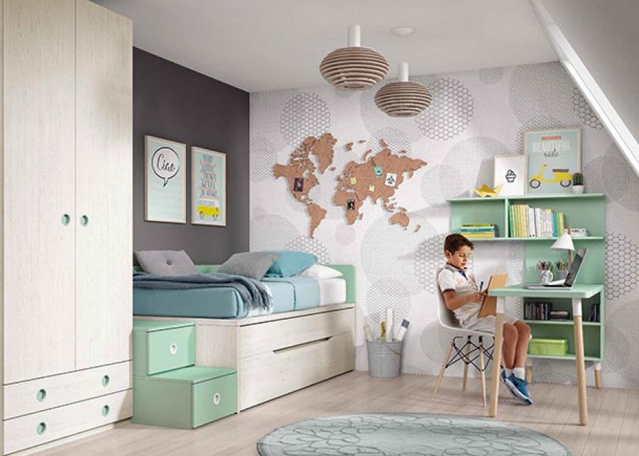 <p>Habitaci&oacute;n Infantil&nbsp;con Cama compacta tipo Tarima + cama deslizante de frente reversible y base de 2 cajones.</p>