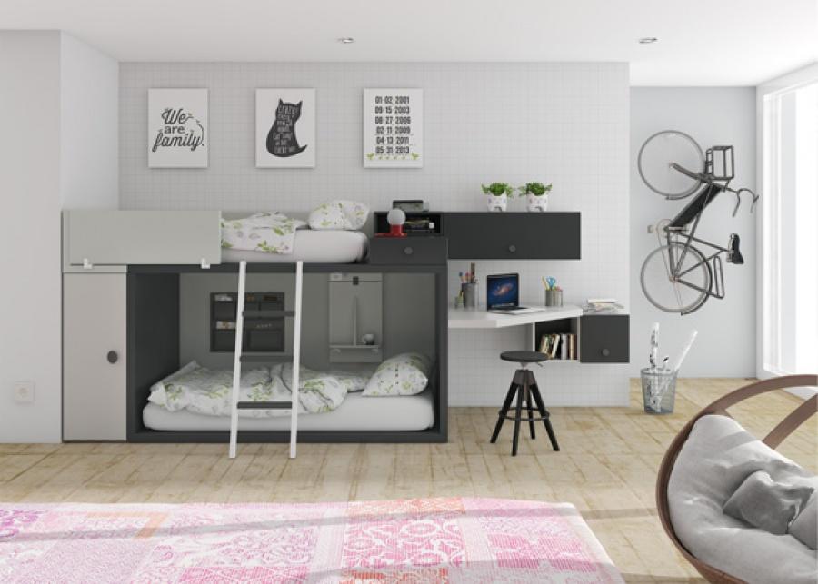 <p>Dormitorio infantil equipado con una litera a ras de suelo completamente personalizable. El ambiente cuenta tambi&eacute;n con un amplio armario de la misma altura y fondo que la cama, adem&aacute;s de una pr&aacute;ctica barandilla abatible que facilita mucho la tarea de hacer la cama superior. Como complementos se ha ubicado la zona de estudio a los pies de la cama, con un escritorio angular y unos m&oacute;dulos colgados de diferentes medidas.</p>