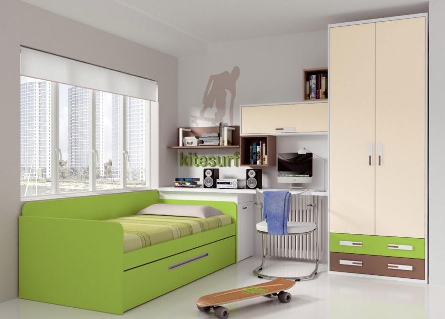 Dormitorio juvenil decorado con llamativos colores.Dispone de un armario de 90 cm de ancho, con 2 puertas y 2 cajones vistos en dos tonos de acabado diferenteJu