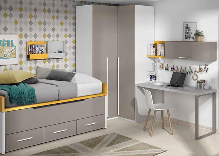<p>Dormitorio infantil con bicama y armario rincón y escritorio de sobre recto.</p>