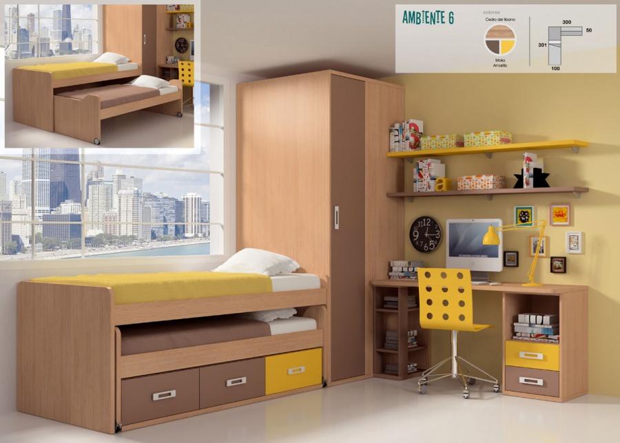 <p>Completísima habitación juvenil equipada con armario rincón cuadrado de costado ciego.<br />Junto al mismo se sitúa el mueble compacto de dos camas con ruedas + cajonera inferior.<br />La cama superior ha sido diseñada para un somier de 90 x 190 y de 90 x 180 para la cama deslizante.<br />La zona de estudio, la compone una encimera recta de 2 mt con los ángulos suavizados en curva.<br />La mesa se apoya sobre un módulo bajo de 2 cajones + hueco, y sobre una pequeña librería que hace las veces de base.<br />Sobre la pared se han colocado dos baldas con soportes de pelícano.</p>