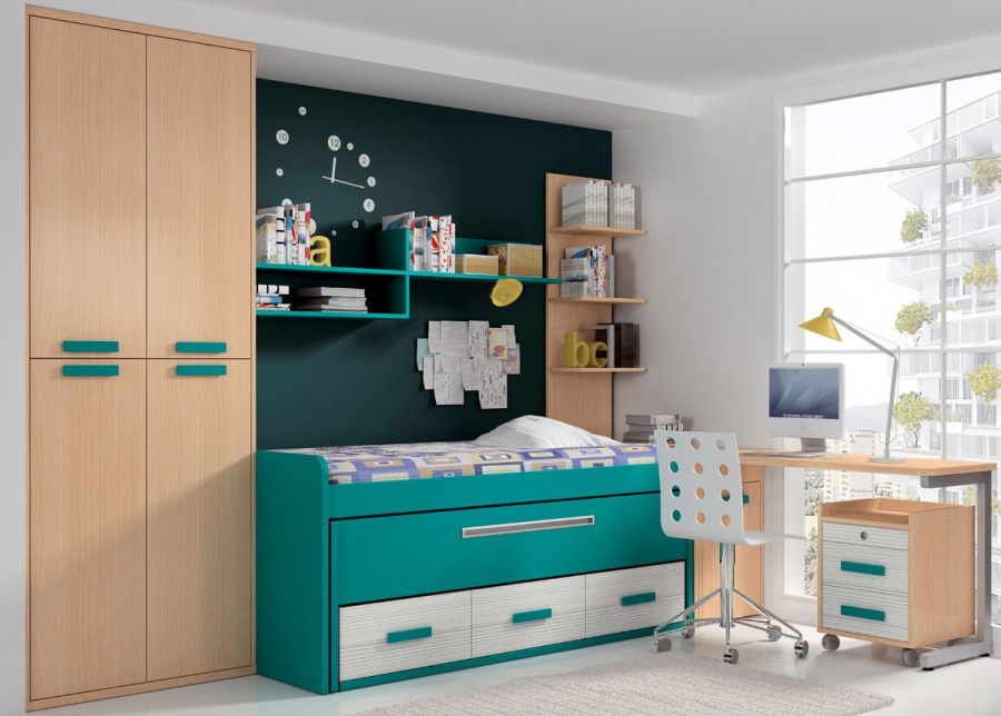 Luminoso dormitorio juvenil equipado con cama compacta con deslizante y cajones, para medida de colchón de 90 x 190 en la cama superior y otro de 90 x 18