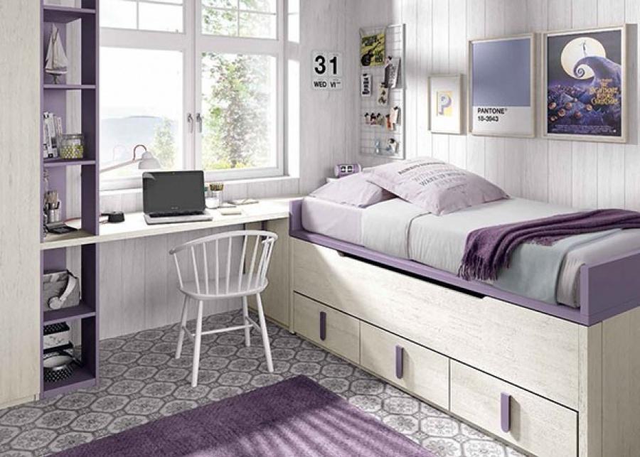 Dormitorio infantil con compacto bicama y armario rincón.
