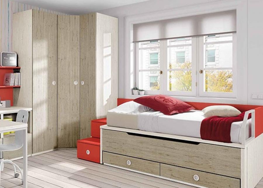 Dormitorio con compacto con dos camas de 90 x 190. Junto a la cama se ha colocado un armario rincón con puerta en chaflán y a continuación