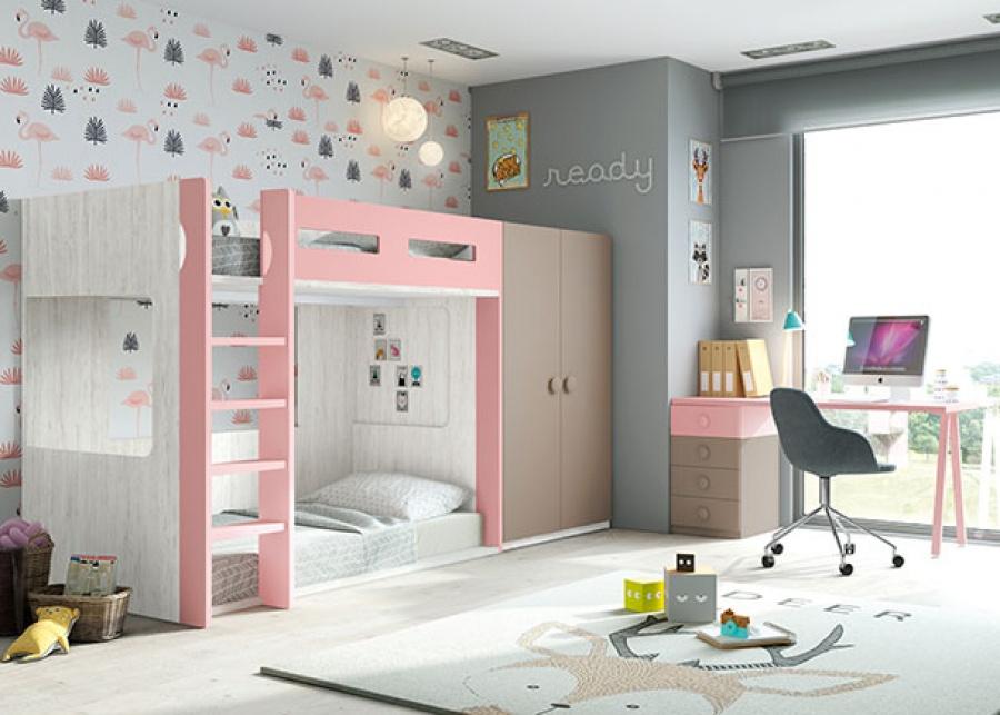 <p>Habitaci&oacute;n infantil con litera de 2 camas con base a suelo y armario de dos puertas de la misma altura y fondo que las camas. El ambiente se completa con una zona de estudio compuesta de un escritorio recto de 151 apoyado sobre un m&oacute;dulo de 4 cajones y una pata con dise&ntilde;o en V.</p>