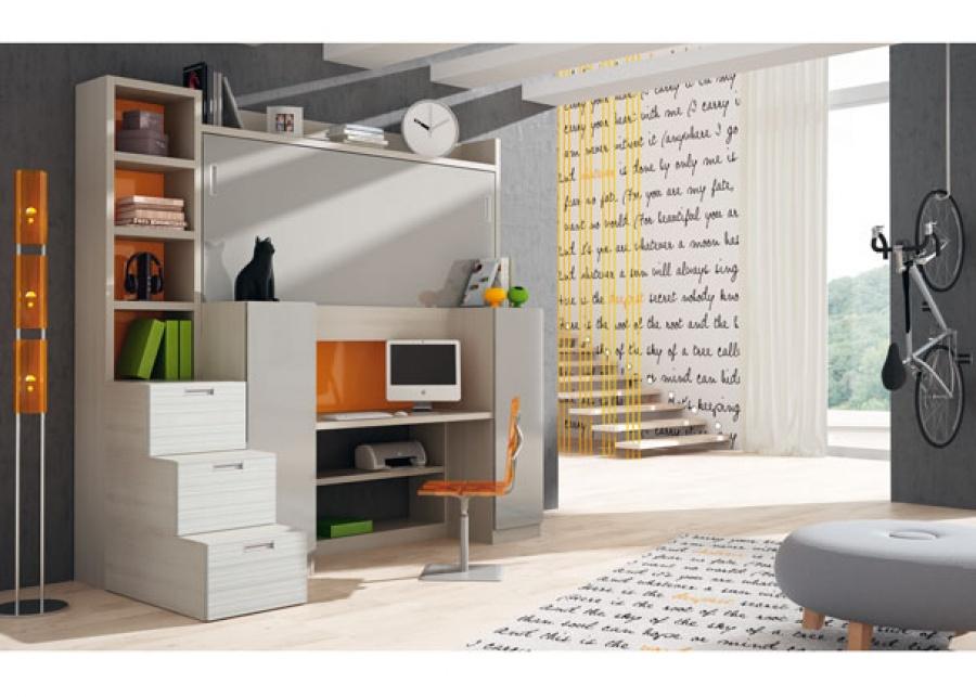 <p>Habitaci&oacute;n infantil con mueble compacto abatible autoportante, es decir, apto para colocar sobre paredes de pladur.<br />Este pr&aacute;ctico mueble, dispone de una litera superior de 90 x 190 y de dos armarios de 50 x 70.<br />La altura total del mueble son 238,5 cm.<br />Este programa, ofrece adem&aacute;s una mesa de estudio en su zona central.<br />La composici&oacute;n de la foto, se ha completado con una escalera-librer&iacute;a posicionada a la izquierda. Sus medidas son 46,5 x 120 cm y 238,5 de altura.</p>