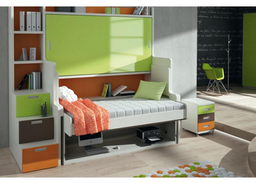 <p>Dormitorio infantil con Cama-Mesa-Litera abatible para colchones de 90x190 (en ambos casos)<br />Tambi&eacute;n se fabrica para largos de 180.<br />La medida completa de la composici&oacute;n es de 212 x 120/30 x 238,5 cm de alto.<br />La composici&oacute;n de la foto incluye una escalera con cajones y estanter&iacute;a superior.</p>