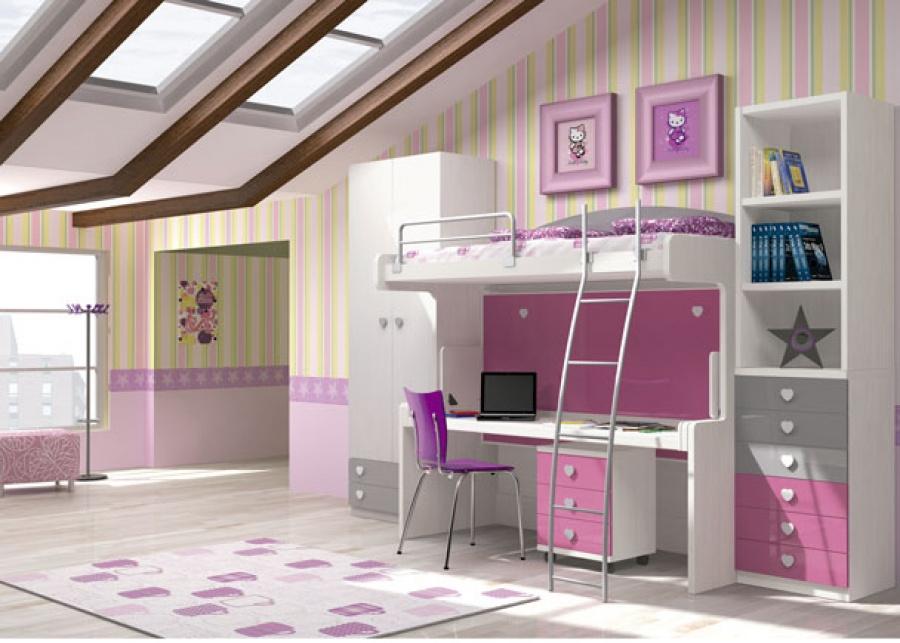 <p>Dormitorio infantil con cama alta y abatible inferior con mesa integrada.<br />La cama superior es para un colch&oacute;n de 90 x 200 y la cama inferior es para colch&oacute;n de 90 x 190.<br />La altura total del mueble es de 178 cm.<br />Debajo de la mesa de estudio, hemos colocado una mesilla con ruedas de 3 cajones de 50 x 50.</p> <p>&nbsp;</p> <p>A la derecha del mueble cama, se sit&uacute;a una liber&iacute;a de 6 cajones de 60 x 50 F x 238,5 h.<br />A la izquierda de la cama se ha completado la composici&oacute;n con un armario de 2 puertas + 2 cajones vistos de 100 x 50 F.&nbsp;</p> <p>&nbsp;</p> <p>&nbsp;</p>