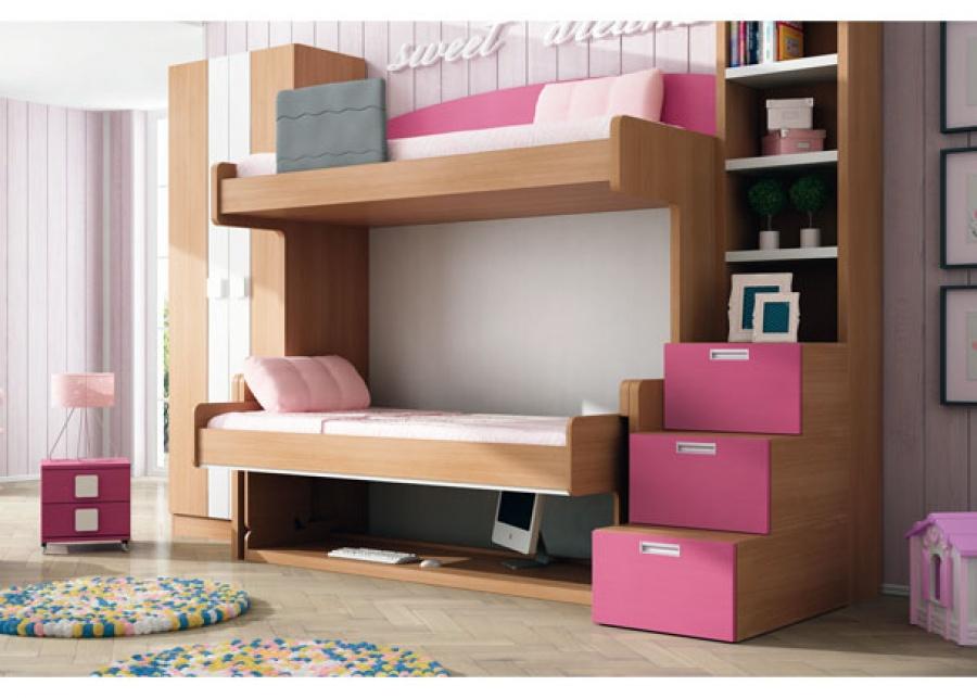 <p>Dormitorio infantil con cama-mesa litera fija.<br />La cama superior es de 90 x 200, y la de abajo es de 90 x 180 x 172 h.<br />A la izquierda de la cama, se ha situado un armario de 2 puertas bicolor de 100 x 52 de fondo x 238,5 h.</p> <p>&nbsp;</p> <p>Debajo de la cama-mesa, se ha ubicado una peque&ntilde;a mesilla con ruedas de 2 cajones.<br /><br />A la derecha, hemos a&ntilde;adido una escalera-librer&iacute;a de 46,5 x 120 de fondo y 238,5 h.</p>