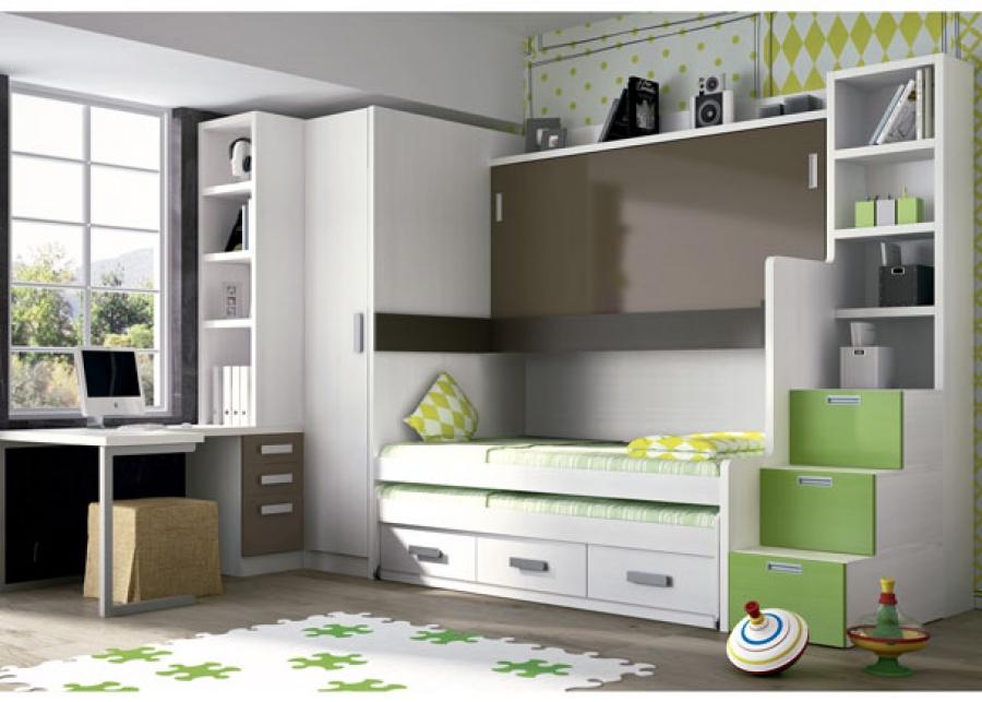 <p>Habitación infantil con mueble compacto de camas abatibles modelo TETRIX de 238,5 h.<br />Este mueble dispone de una cama superior de 90 x 190 + una cama inferior de la misma medida, mientras que la cama central es de 90 x 200. La cama inferior, dispone además de un arcón con tres cajones en su base.<br />A la derecha de las camas, se ha situado una escalera librería de 46,5 x 120 de fondo x 238,5 h. Al otro lado, hemos situado un amplio armario rincón cuadrado ciego (100 x 100 x 52 de fondo x 238,5 h)<br /><br />Sobre el otro costado, hemos situado la zona de estudio, compuesta por una tapa de mesa escritorio curva, de 140 x 100 cm de ancho, que apoya uno de sus extremos sobre un costado en forma de U.<br />En el otro lado, la mesa se apoya sobre un buck de 2 cajones + 1 contenedor (40 x 52 F x 72,5 h) y cubriendo verticalmente todo el costado del armario, una librería completa la zona de estudio.</p>