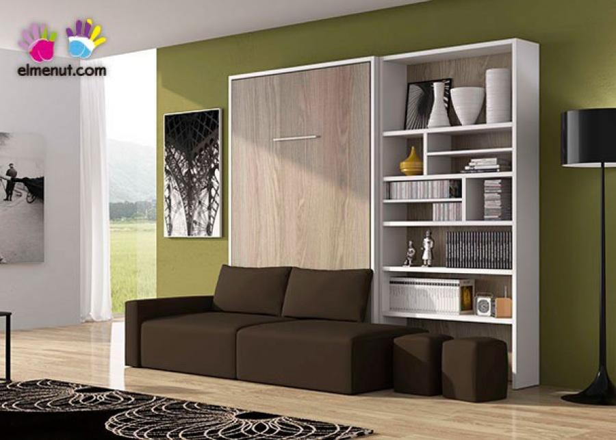 <p>Sal&oacute;n con cama abatible vertical de matrimonio, para colch&oacute;n de 150 x 190 con sof&aacute; integrado. El ambiente se completa con una librer&iacute;a asim&eacute;trica.</p>