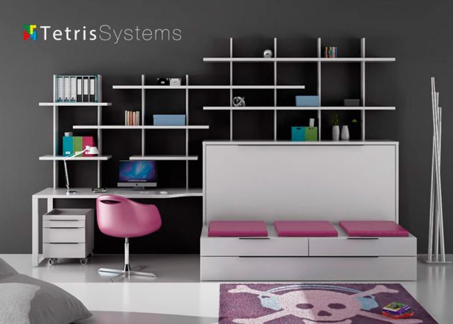 <p>Dormitorio juvenil con sofá, cama abatible y zona de estudio moderno. Incluye la estructura abatible horizontal con estantes, cajones y cama supletoria</p>