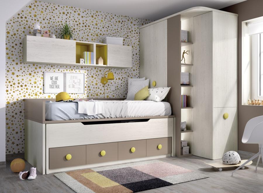 <p>Dormitorio infantil equipado con un compacto de dos camas; una cama principal fija para colch&oacute;n de 90x190 y una deslizante de 90 x 180, con base de cajones en cuya cabecera se ha colocado un armario rinc&oacute;n multifunci&oacute;n&nbsp; derecho, cuya parte inferior es un arc&oacute;n con mesa extraible que se desliza f&aacute;cilmente. Las medidas del armario son 150 x 83,2&nbsp; de fondo y mide 218 cm de altura.</p>