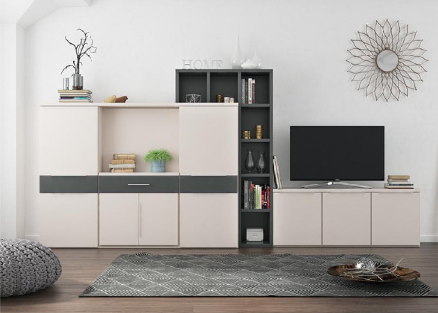 Salón con una composición mural en la que se ha incluido mesa extraible plegable de la serie Tetris Systems. Permite combinar estanterías y