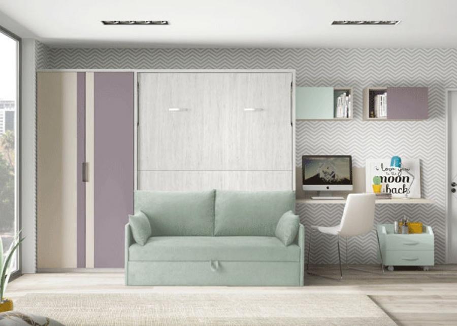 <p>Habitaci&oacute;n juvenil equipada con un modelo de cama abatible con sof&aacute;, un armario recto de 2 puertas y zona estudio.</p>