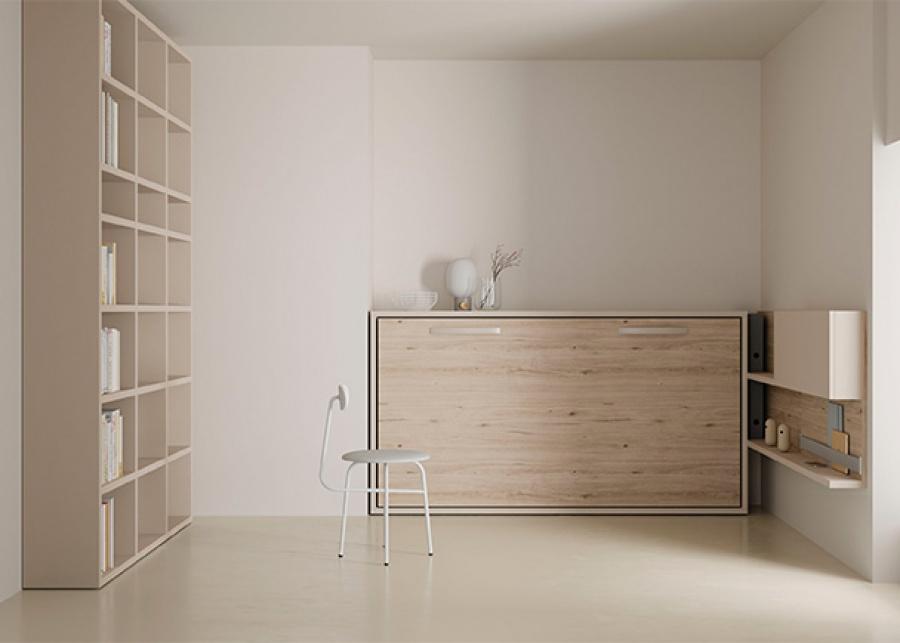 <p>Estudio con cama abatible horizontal de 90 x 190 y librer&iacute;a de 3 cuerpos.</p>