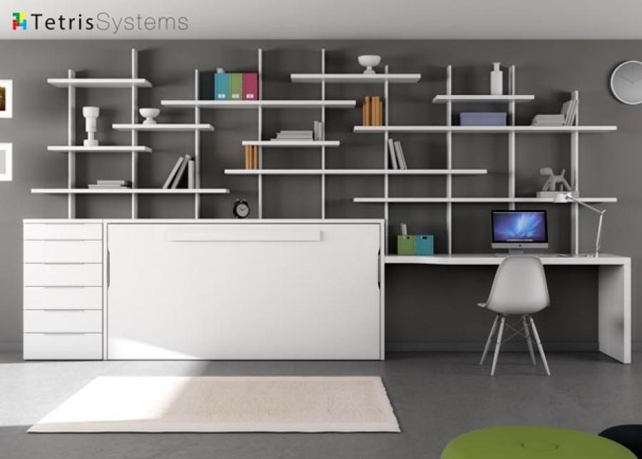 <p>Dormitorio Juvenil color blanco con cama plegable (abatible) horizontal, zona de estudio a medida con estanterías y sinfonier con 6 cajones.Las estanterías Tetris son totalmente regulables y se pueden desplazar tanto lateralmente (los orificios para los soportes están todos a la misma medida) como verticalmente sin necesidad de herramientas.</p>