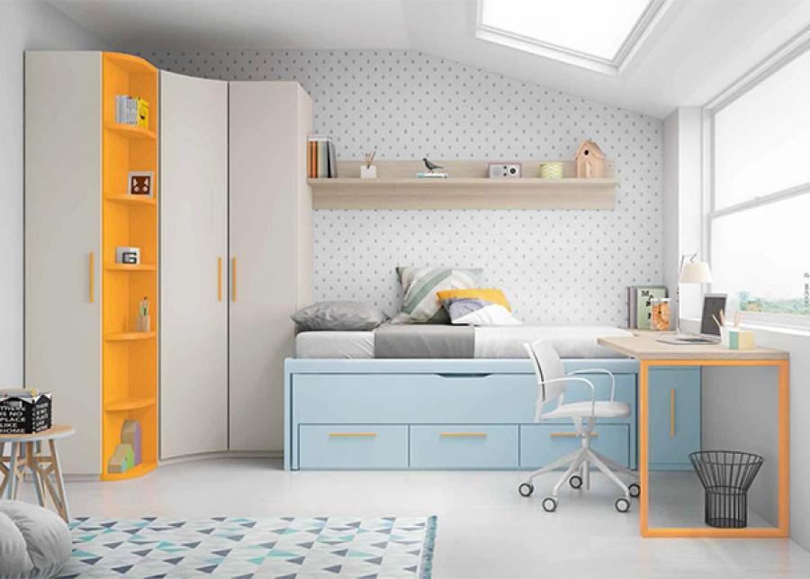 <p>Habitación juvenil con cama compacta con deslizante y cajones. El ambiente cuenta con un armario rinconero, zona de estudio y complementos.</p>