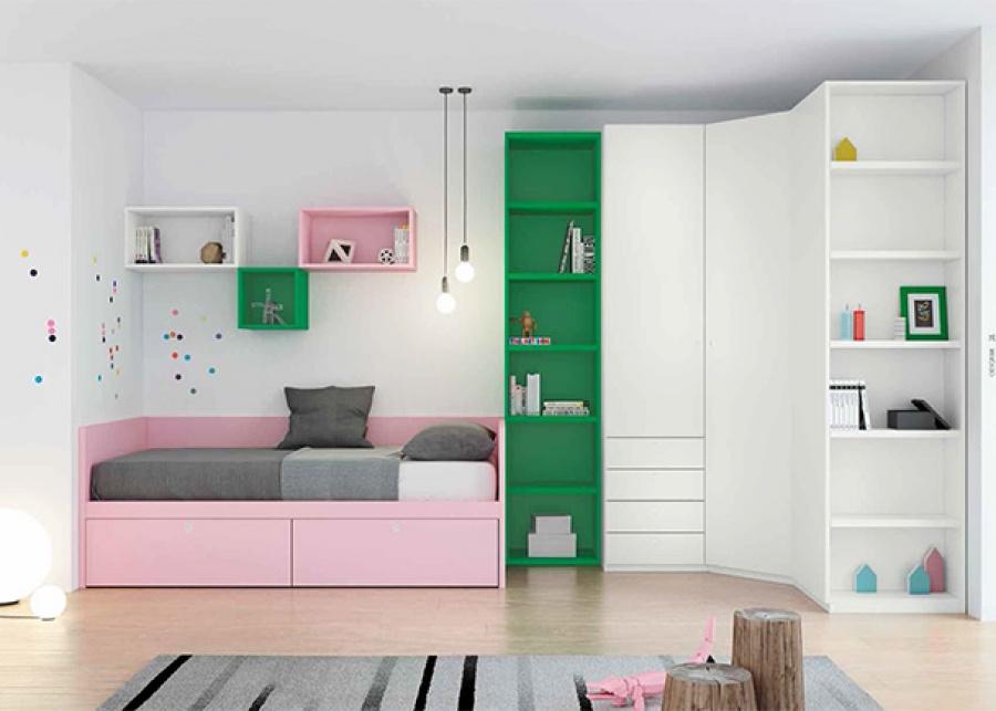 Habitación juvenil con cama nido, armario rinconero y librería