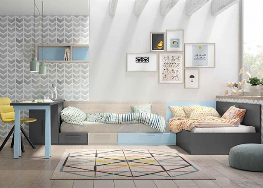 <p>Habitaci&oacute;n infantil equipada con una cama nido, un sinfonier de 4 cajones + 1 contenedor y una zona de estudio con escritorio angular.</p>