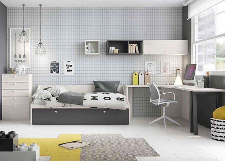 <p>Dormitorio infantil con una cama nido y una zona de estudio con escritorio angular</p>