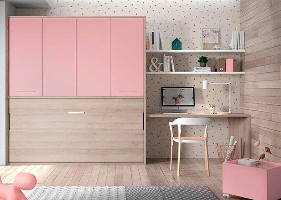 <p>Habitación infantil equipada con una cama abatible con armario superior de 4 puertas batientes</p>