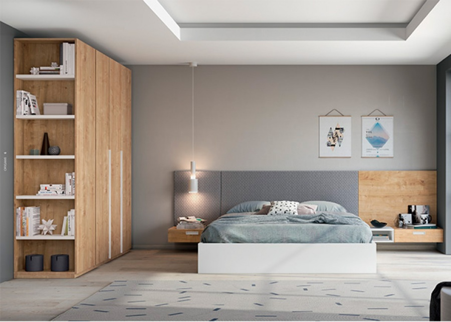 <p>Dormitorio juvenil con cama de matrimonio con bastidor tipo Aro y armarios con terminal de estantes.</p>