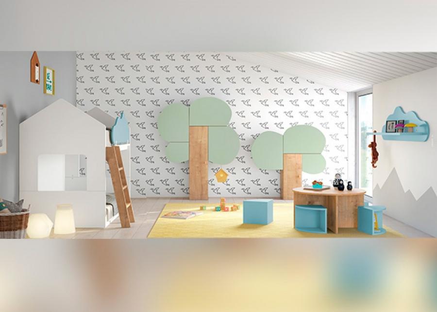 Habitación Infantil Con Litera Casita Y Armarios Con Diseño De árbol