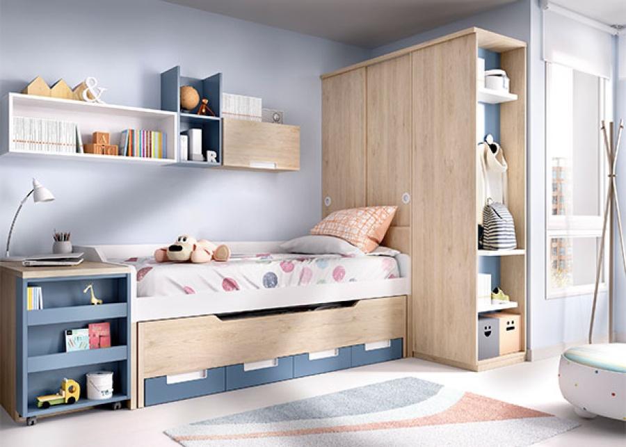 <p>Habitaci&oacute;n infantil con compacto de 2 camas y armario de 2 puertas correderas y arc&oacute;n mesa extra&iacute;ble con pata estanter&iacute;a.</p>