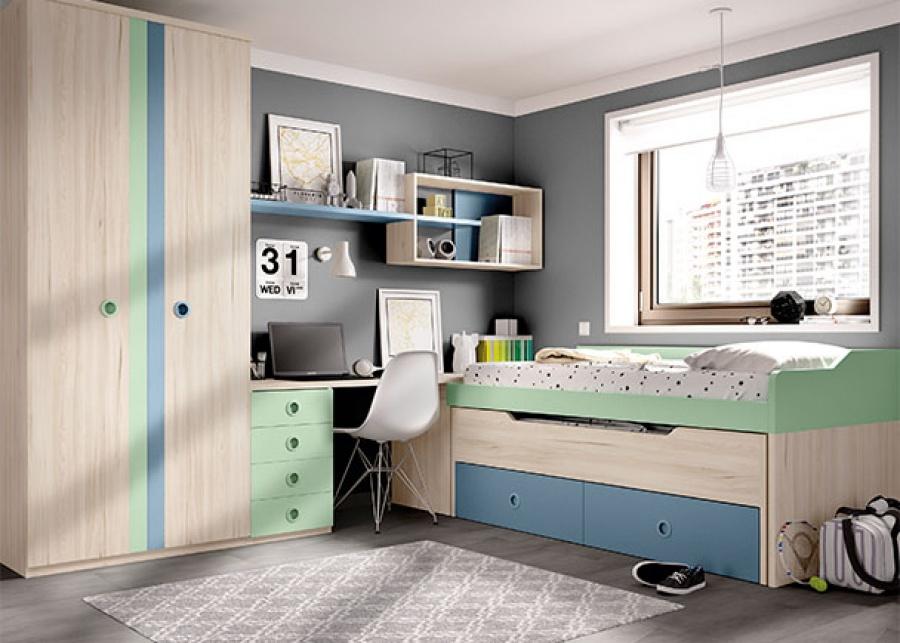 <p>dormitorio infantil equipado con un compacto de 2 camas y base de 2 baúles + arcón zapatero, escritorio y armario.</p>