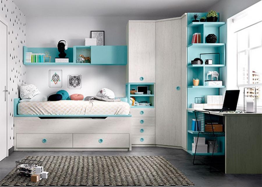 <p>Habitaci&oacute;n infantil equipada con un compacto de dos camas; una cama principal fija para colch&oacute;n de 90x190 y una deslizante de la misma medida, con base de 2 ba&uacute;les + armarios y zona de estudio</p>