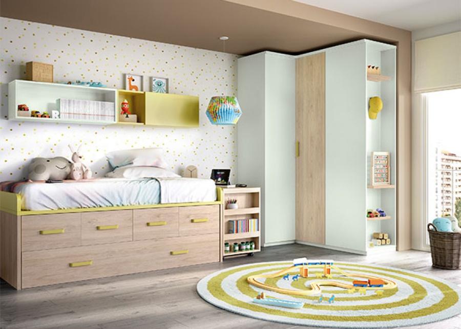 <p>Dormitorio infantil con compacto de dos camas; una cama principal fija para colch&oacute;n de 90x190, 4 contenedores y una base nido con somier de arrastre.</p>