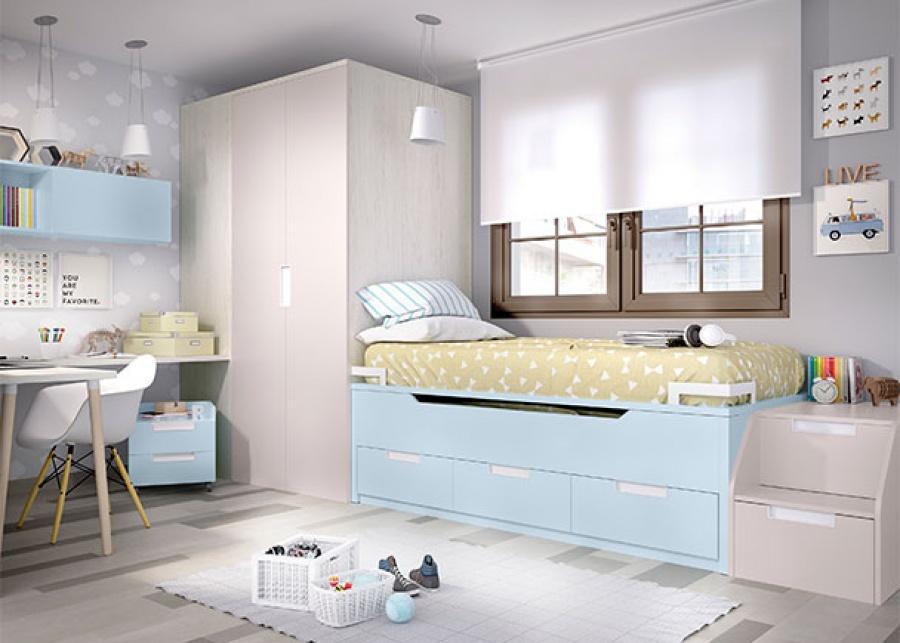 <p>Habitaci&oacute;n infantil con compacto de 2 camas (ambas de 90 x 190), armario-cabina de 155 x 104 cm de profundidad, con cajonera interior y zona de estudio.</p>