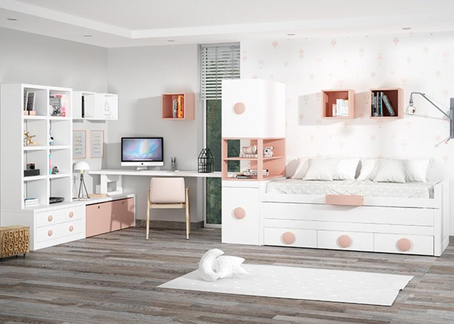 <p>dormitorio infantil equipado un compacto con cama deslizante y base de 3 cajones. + arc&oacute;n extra&iacute;ble con 3 pr&aacute;cticos cajones interiores.</p>
