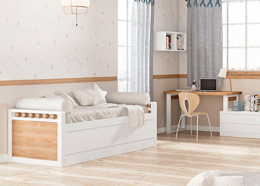 <p>Compacto bicama modelo BOLAS, de brazos bajos. La cama fija tiene una medida para somier de 90 x 190 y la deslizante de 90 x 180. La trampilla que oculta la cama deslizante viene de serie con tirador u&ntilde;ero continuo. Este modelo tiene una base de 3 cajones nido con gu&iacute;as.</p>