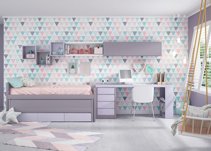 Dormitorio juvenil equipado con un compacto de brazo recto con cama deslizante y base de 3 cajones. El ambiente se completa con un escritorio de sobre recto de