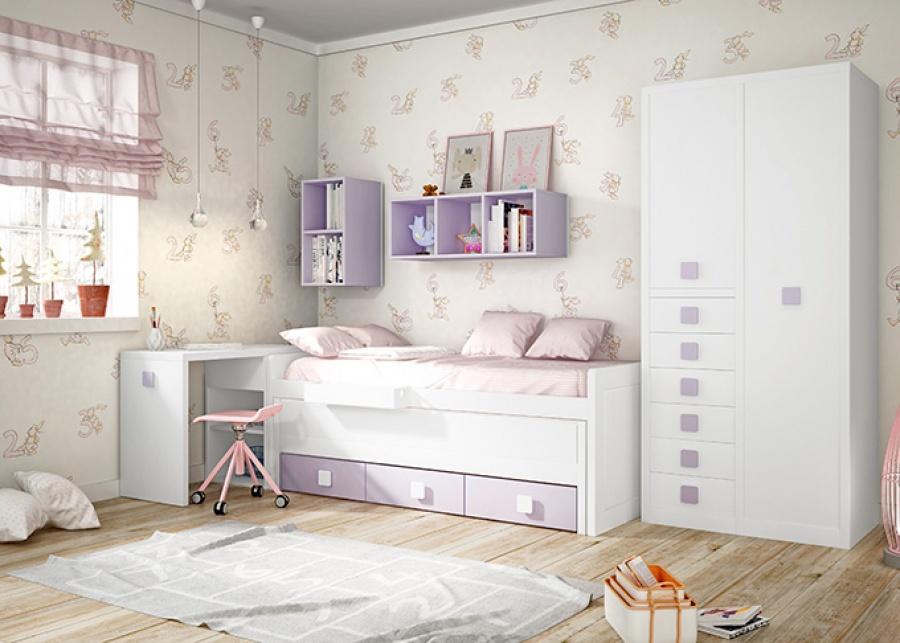 <p>Dormitorio infantil con cama compacta con deslizante y base de 3 cajones nido. El equipamiento cuenta con un arc&oacute;n escritorio de frontal extraible, un armario mixto con sinfonier de 6 cajones vistos y composici&oacute;n mural.</p>