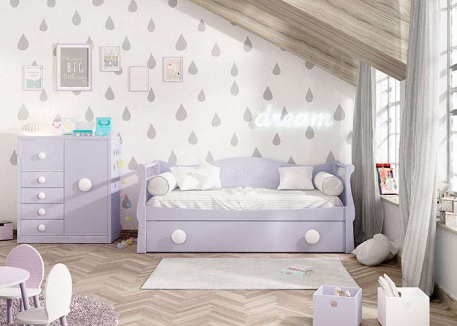<p>Dormitorio infantil con cama nido div&aacute;n con piecero y cabecero tipo g&oacute;ndola.Incluye m&oacute;dulo c&oacute;moda con 4 cajones y 1 contenedor + una puerta.</p>