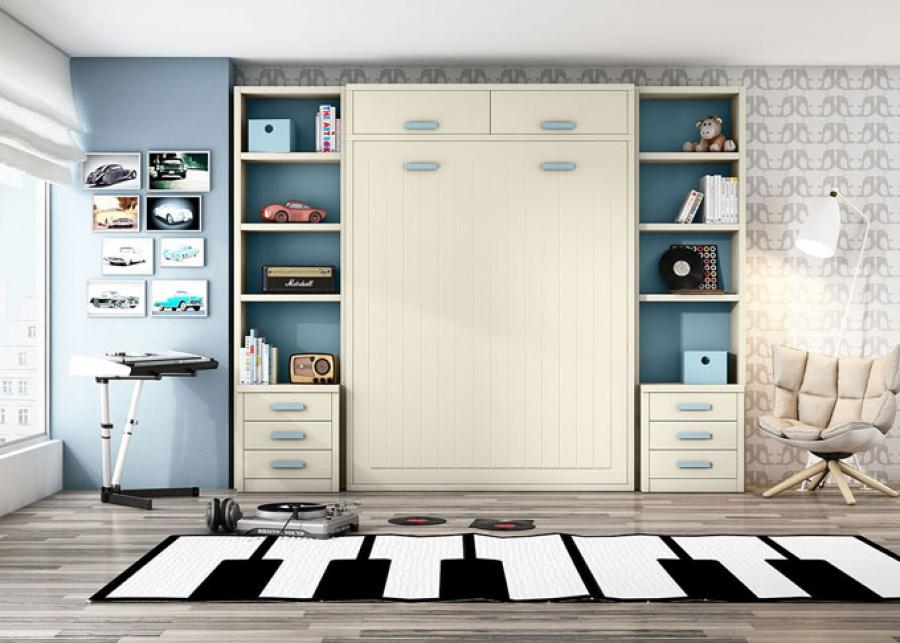 <p>Dormitorio juvenil&nbsp; con cama abatible de 1,50 en vertical y altillo con dos puertas, zona de alamacenamiento lateral con estantes y bajo de tres cajones a cada lado.</p>
