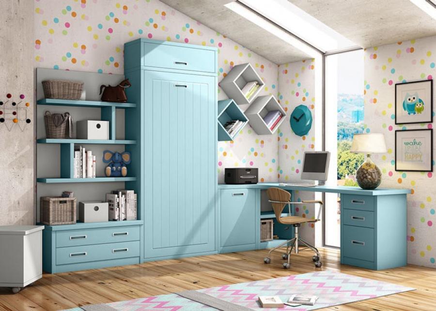<p>Habitaci&oacute;n juvenil compuesta por cama abatible, en vertical, junto&nbsp; con espacio de almacenamiento de estantes y bajo de dos cajones. Adem&aacute;s dispone de una zona de estudio en esquina&nbsp; con mesa de 240 y&nbsp; un modulo bajo&nbsp; de 3 cajones.</p> <p>&nbsp;</p>