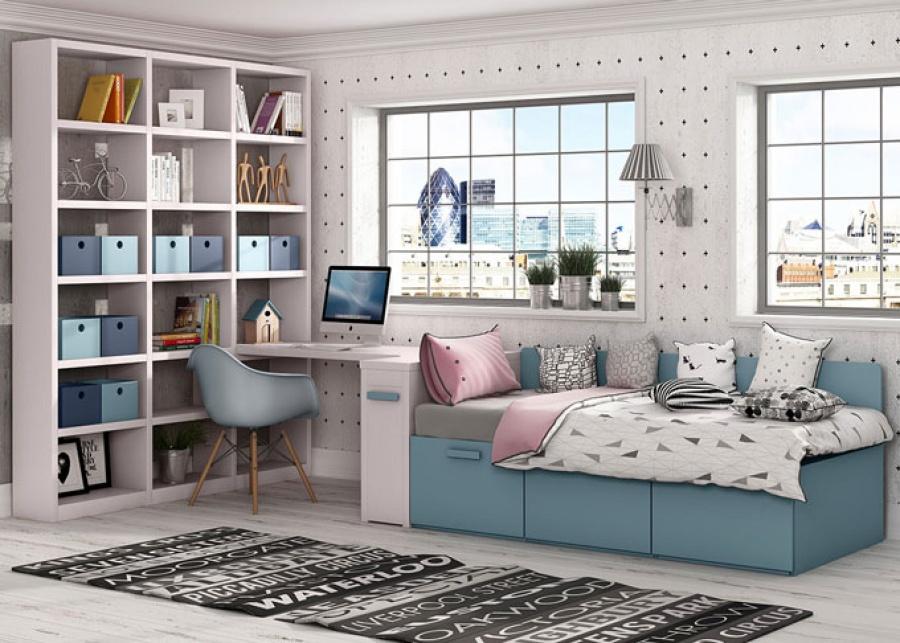 <p>Dormitorio juvenil con compato de base de tres cajones y respaldo, junto con arc&oacute;n extraible. Adem&aacute;s de zona de estudio con espacio de almacenamiento de tres columnas diafanas.</p>