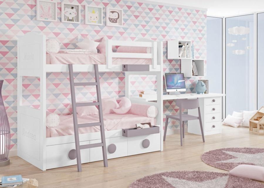 <p>Dormitorio infantil con litera y compacto bajo con base de tres cajones adem&aacute;s de una zona de estudio con modulo de 4 cajones y estanterias en forma de cubos diafanos.</p>