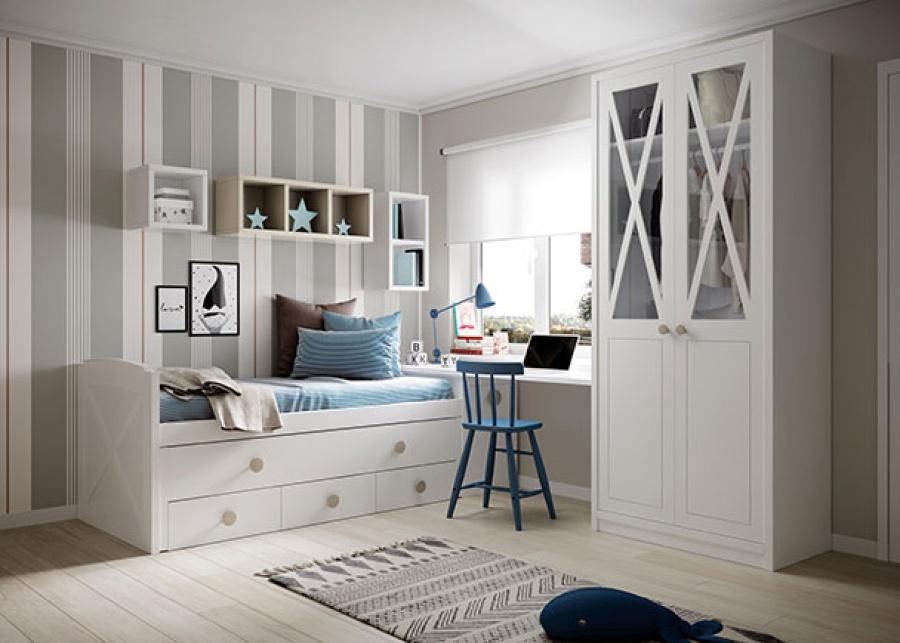 <p>Dormitorio juvenil con compacto de cama de arrastre&nbsp; y base de tres cajones junto con arc&oacute;n extraible&nbsp; a modo de base para el escritorio.&nbsp; Adem&aacute;s, la composci&oacute;n integra un armario&nbsp; de dos puertas.</p>