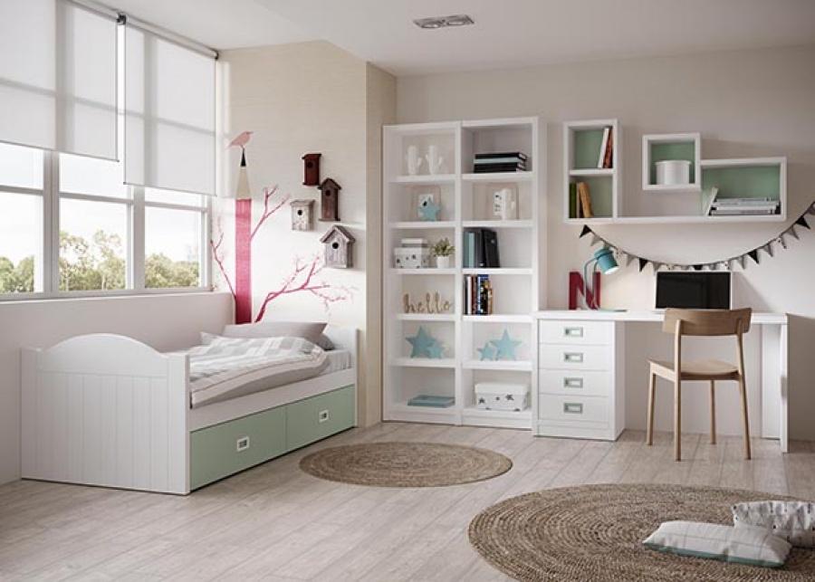 <p>Dormitorio de infantil integrada por una cama nido con base de dos cajones y una zona de estudio compuesta por un escritorio con modulo bajo de cajones, una librería y estanterias a modo de cubo.</p>