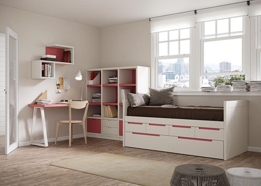 <p>Habitaci&oacute;n juvenil compuesta por compacto medio con&nbsp; cama extraible en la base&nbsp; y cuatro cajones + zona de estudio con escritorio integrado en librer&iacute;a.</p>