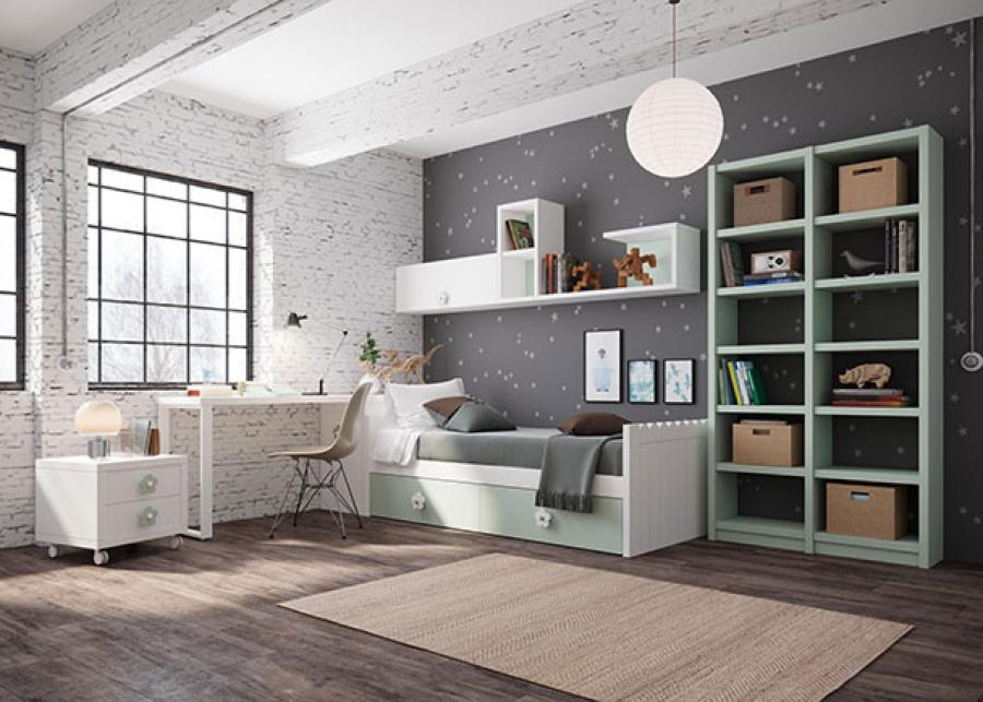 <p>Dormitorio infantil compuesto por una cama nido con base de dos cajones, junto a escritorio con arcón en la parte inferior+ librería de dos columnas y mesita de noche con ruedas.</p>