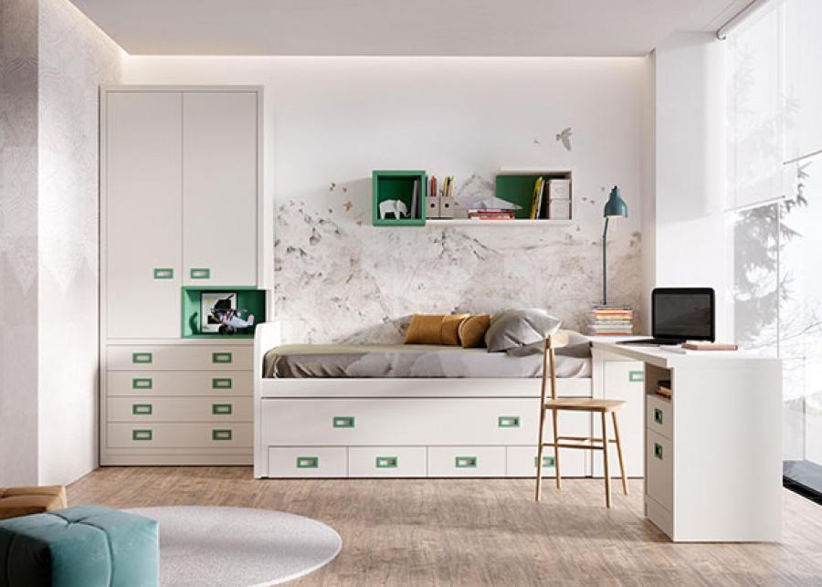 <p>Habitaci&oacute;n juvenil con compacto medio de 2 camas; cama superior fija para colch&oacute;n de 90 x 190 + deslizante de 90 x 180 y base de 4 cajones nido. El ambiente se completa con un armario de dos puertas con sinfonier de 4 cajones bajos y una zona de estudio con escritorio recto sobre m&oacute;dulo de apoyo de 1 caj&oacute;n + contenedor + hueco di&aacute;fano.</p>