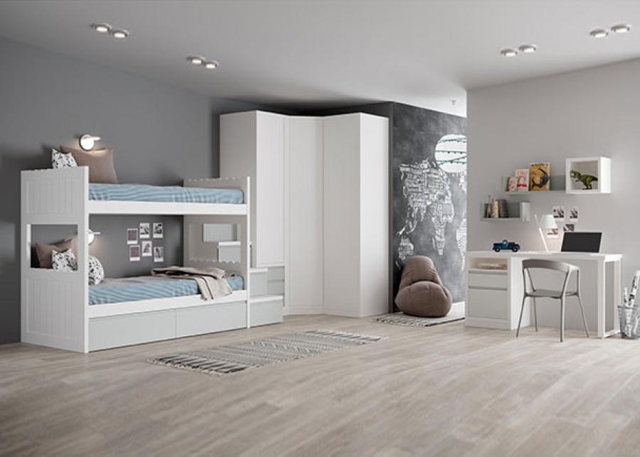 <p>Dormitorio juvenil doble con literas y base de dos cajones+ una escalera con almacenamiento interior. Integra un armario rinconero de 3 puertas y una zona de estudio con un modulo bajo de un caj&oacute;n y una puerta.</p>