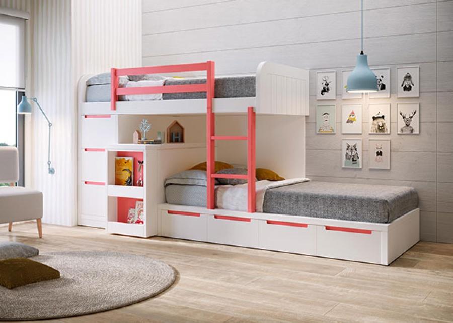 <p>Habitaci&oacute;n juvenil con camas tren de base de 4&nbsp; cajones, con arc&oacute;n extraible con mesa en la parte del cabezal y una&nbsp; columna con cajones. La cama superior cuenta con una barandilla quitamiedos y una escalera&nbsp; para acceder.</p>